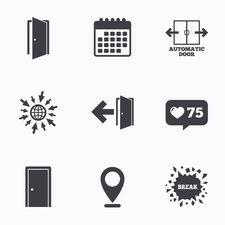 emergency exit label: Calendar, like counter and go to web icons. Automatic door icon. Emergency exit with arrow symbols. Fire exit signs. Location pointer. Illustration
