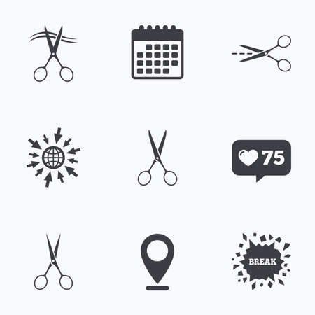 cut hair: Calendar, like counter and go to web icons. Scissors icons. Hairdresser or barbershop symbol. Scissors cut hair. Cut dash dotted line. Tailor symbol. Location pointer.