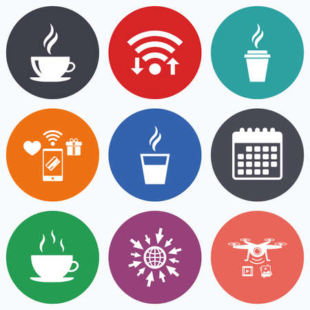 takeout: Wifi, mobile payments and drones icons. Coffee cup icon. Hot drinks glasses symbols. Take away or take-out tea beverage signs. Calendar symbol.