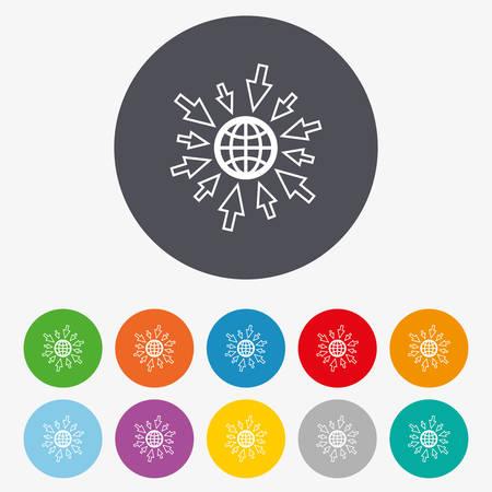 amarillo y negro: Ir al icono de la Web. Globo con signo cursor del ratón. símbolo de acceso a Internet. Botones coloridos del círculo. Vectores
