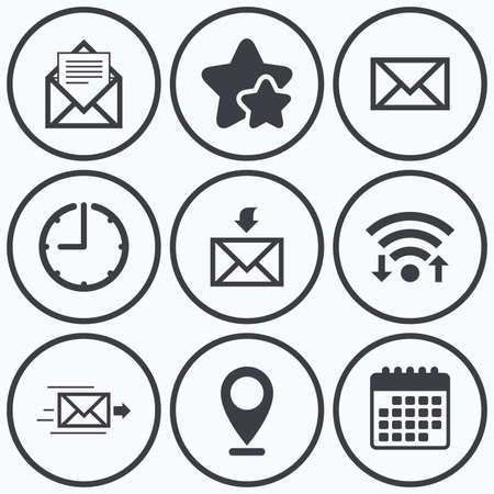 webmail: Clock, wifi and stars icons. Mail envelope icons. Message document delivery symbol. Post office letter signs. Inbox and outbox message icons. Calendar symbol. Illustration