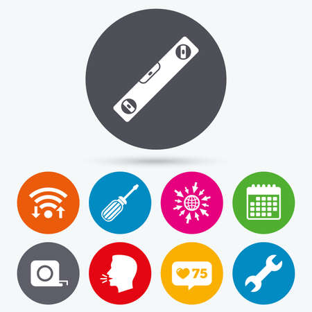 screwdriver: Wifi, like counter and calendar icons. Screwdriver and wrench key tool icons. Bubble level and tape measure roulette sign symbols. Human talk, go to web. Illustration