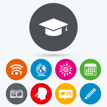 human geography: Wifi, like counter and calendar icons. Pencil and open book icons. Graduation cap and geography globe symbols. Education learn signs. Human talk, go to web.