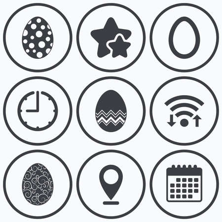 pasch: Clock, wifi and stars icons. Easter eggs icons. Circles and floral patterns symbols. Tradition Pasch signs. Calendar symbol.