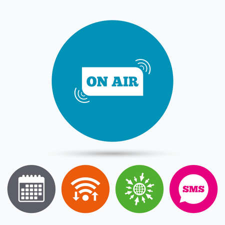 live on air: Wifi, Sms and calendar icons. On air sign icon. Live stream symbol. Go to web globe.