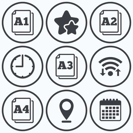 a1: Clock, wifi and stars icons. Paper size standard icons. Document symbols. A1, A2, A3 and A4 page signs. Calendar symbol.