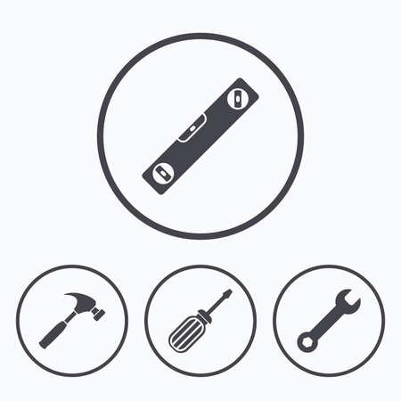 Schraubendreher und Schlüssel Schlüssel-Werkzeug-Icons. Libelle und Hammerzeichen Symbole. Icons im Kreis.