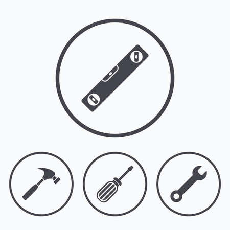 Screwdriver and wrench key tool icons. Bubble level and hammer sign symbols. Icons in circles. Illustration