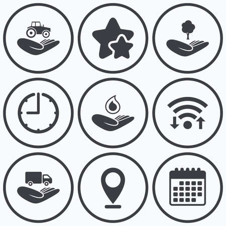 environmental damage: Clock, wifi and stars icons. Helping hands icons. Agricultural tractor insurance symbol. Delivery truck sign. Save nature forest. Water drop. Calendar symbol.