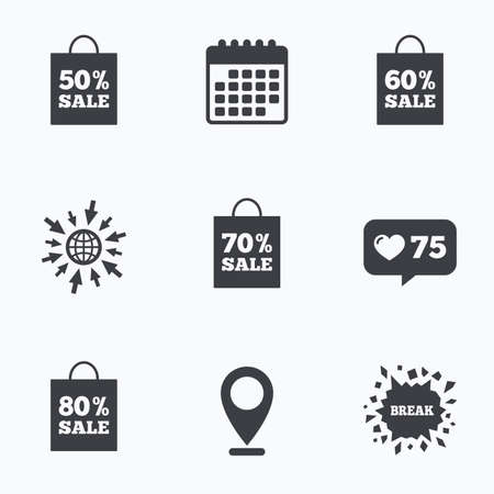 60 70: Calendar, like counter and go to web icons. Sale bag tag icons. Discount special offer symbols. 50%, 60%, 70% and 80% percent sale signs. Location pointer.