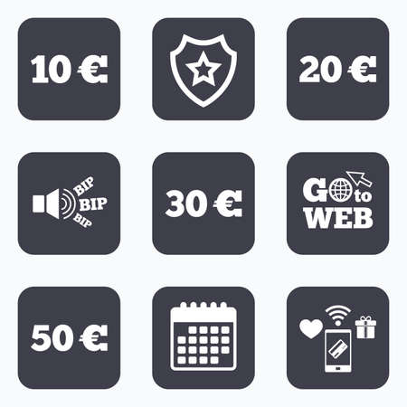20 30: Mobile payments, wifi and calendar icons. Money in Euro icons. 10, 20, 30 and 50 EUR symbols. Money signs Go to web symbol. Illustration