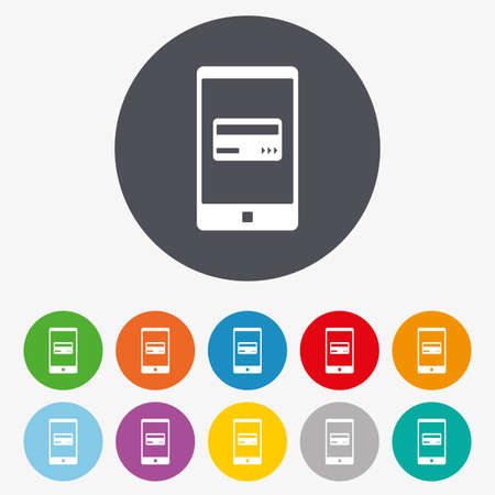 e money: Mobile payments icon. Smartphone with credit card symbol. Circle colourful buttons.
