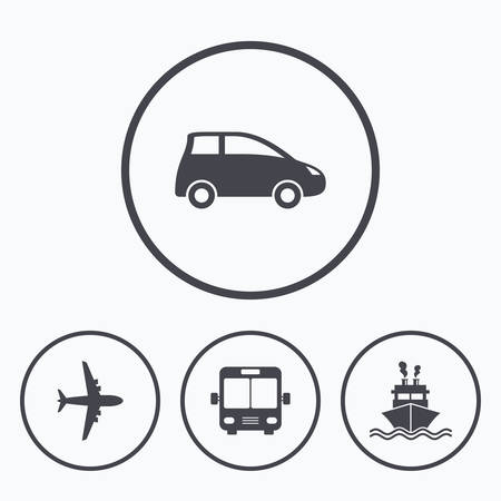 shipping by air: Transport icons. Car, Airplane, Public bus and Ship signs. Shipping delivery symbol. Air mail delivery sign. Icons in circles.