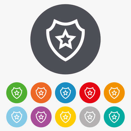 safety circle: Shield with star icon. Favorite protection symbol. Circle colourful buttons.