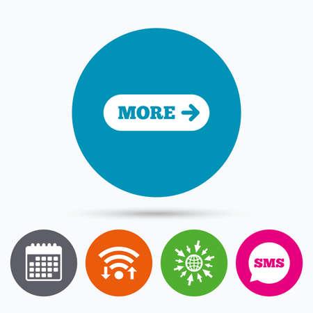 Wifi, SMS e iconos de calendario. Más con el icono de signo de flecha. Símbolo de detalles Navegación del sitio web Ir a globo web.