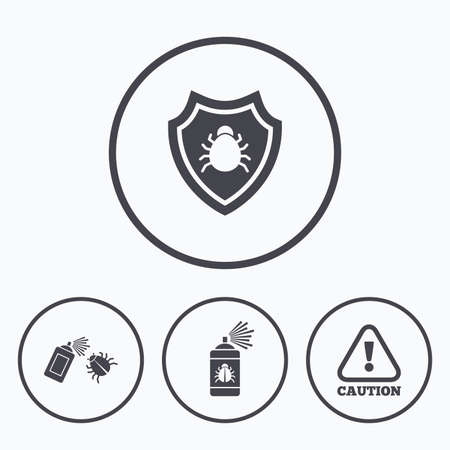 acarus: Bug disinfection icons. Caution attention and shield symbols. Insect fumigation spray sign. Icons in circles.