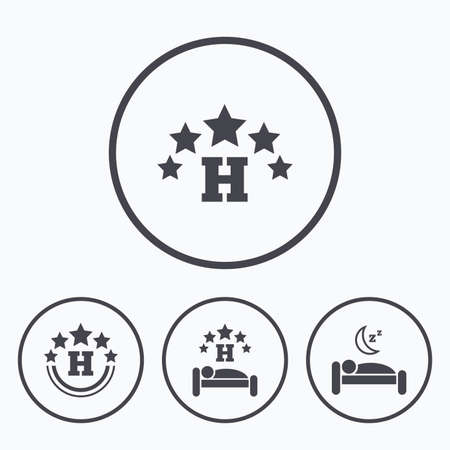 five stars: Five stars hotel icons. Travel rest place symbols. Human sleep in bed sign. Icons in circles.