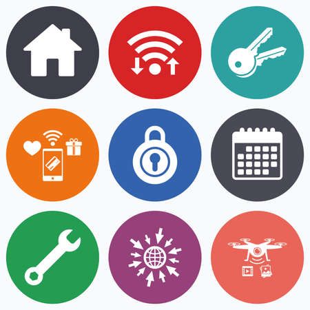 screw key: Wifi, mobile payments and drones icons. Home key icon. Wrench service tool symbol. Locker sign. Main page web navigation. Calendar symbol.