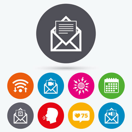 voice mail: Wifi, like counter and calendar icons. Mail envelope icons. Message document symbols. Video and Audio voice message signs. Human talk, go to web.