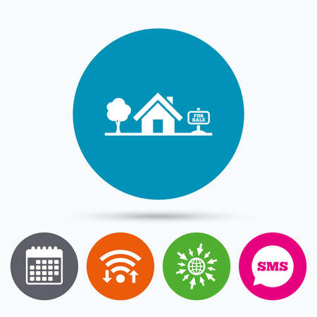 broker: Wifi, Sms and calendar icons. Home sign icon. House for sale. Broker symbol. Go to web globe. Illustration
