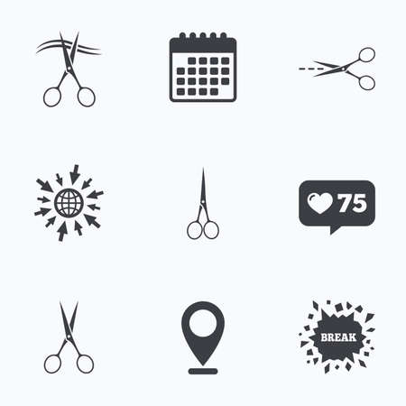 hair cut: Calendar, like counter and go to web icons. Scissors icons. Hairdresser or barbershop symbol. Scissors cut hair. Cut dash dotted line. Tailor symbol. Location pointer.