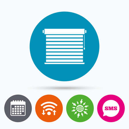 blinds: Wifi, Sms and calendar icons. Louvers sign icon. Window blinds or jalousie symbol. Go to web globe.