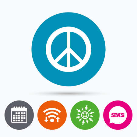 pacificist: Wifi, Sms and calendar icons. Peace sign icon. Hope symbol. Antiwar sign. Go to web globe.