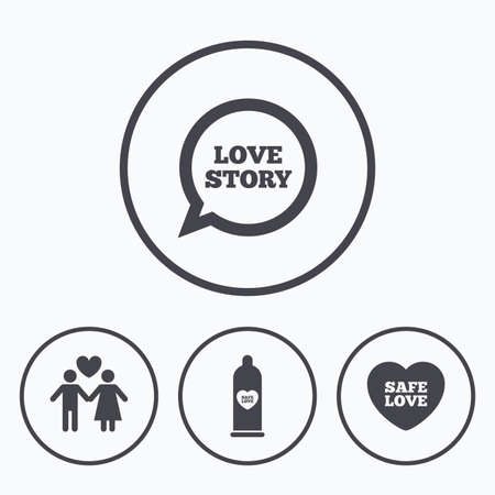 condom: Condom safe icons. Lovers couple signs. Male love female. Speech bubble with heart. Icons in circles. Illustration
