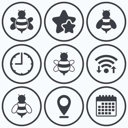 sting: Clock, wifi and stars icons. Honey bees icons. Bumblebees symbols. Flying insects with sting signs. Calendar symbol. Illustration