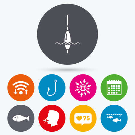 bobber: Wifi, like counter and calendar icons. Fishing icons. Fish with fishermen hook sign. Float bobber symbol. Human talk, go to web.