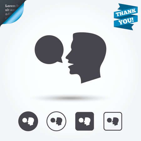 speaking: Talk or speak icon. Speech bubble symbol. Human talking sign. Circle and square buttons. Flat design set. Thank you ribbon.