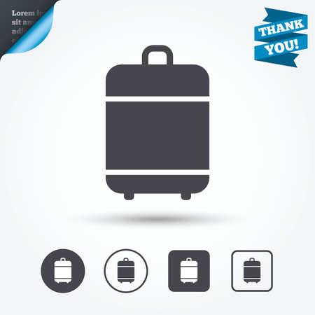 luggage bag: Travel luggage bag icon. Baggage symbol. Circle and square buttons. Flat design set. Thank you ribbon.
