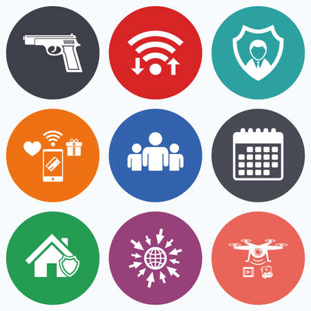 home group: Wifi, mobile payments and drones icons. Security agency icons. Home shield protection symbols. Gun weapon sign. Group of people or Share. Calendar symbol. Illustration