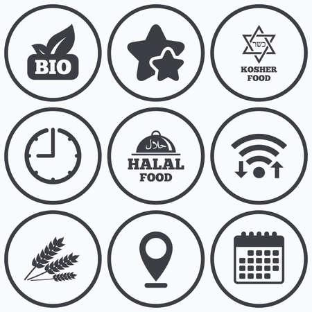 estrella de david: Reloj, WiFi y estrellas iconos. Iconos naturales nutritivos. signos Halal y Kosher. Sin gluten y la estrella de David símbolos. símbolo de calendario.