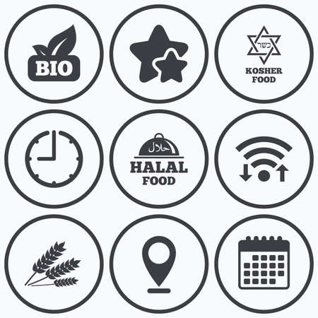 Clock, wifi and stars icons. Natural Bio food icons. Halal and Kosher signs. Gluten free and star of David symbols. Calendar symbol.