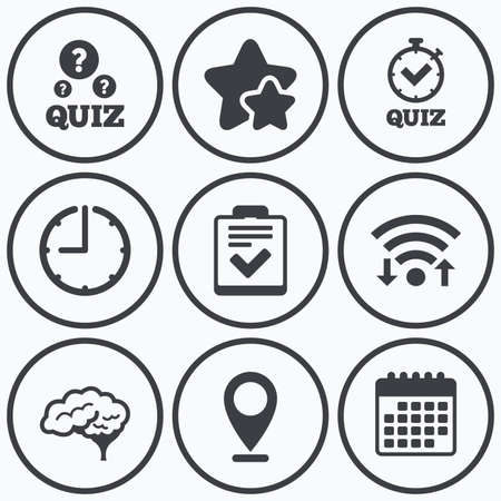 feedback form: Clock, wifi and stars icons. Quiz icons. Human brain think. Checklist and stopwatch timer symbol. Survey poll or questionnaire feedback form sign. Calendar symbol.
