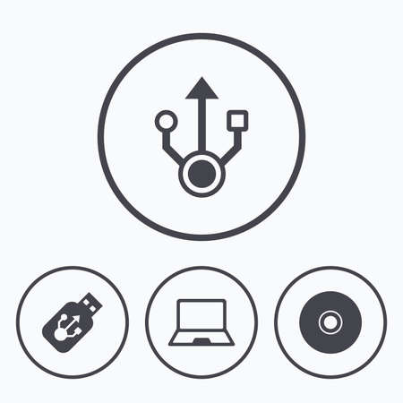 ultrabook: Usb flash drive icons. Notebook or Laptop pc symbols. CD or DVD sign. Compact disc. Icons in circles. Illustration