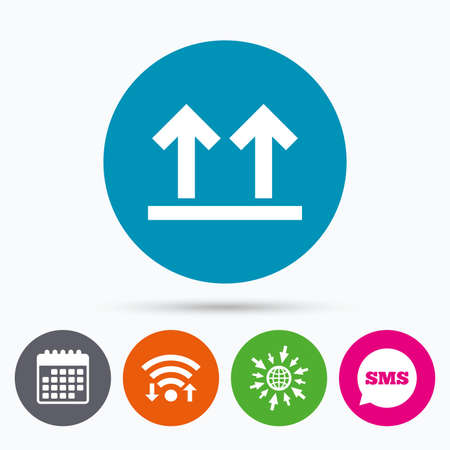 web side: Wifi, Sms and calendar icons. This side up sign icon. Fragile package symbol. Arrows. Go to web globe. Illustration