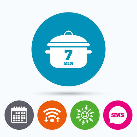 stew: Wifi, Sms and calendar icons. Boil 7 minutes. Cooking pan sign icon. Stew food symbol. Go to web globe.