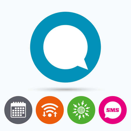 chat bubbles: Wifi, Sms and calendar icons. Chat sign icon. Speech bubble symbol. Communication chat bubbles. Go to web globe.