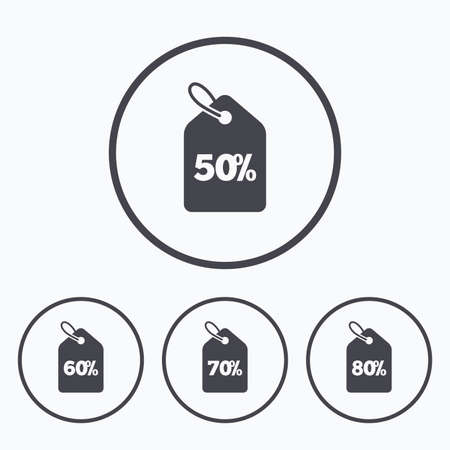 50 to 60: Sale price tag icons. Discount special offer symbols. 50%, 60%, 70% and 80% percent discount signs. Icons in circles.