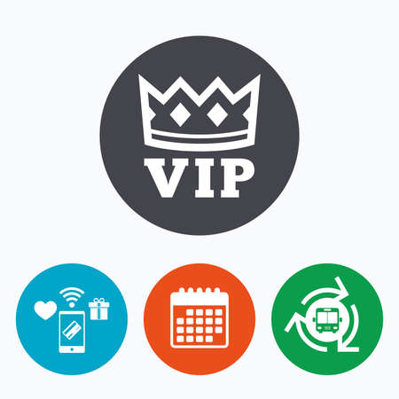 very important person: Vip sign icon. Membership symbol. Very important person. Mobile payments, calendar and wifi icons. Bus shuttle.