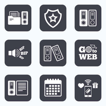 accounting symbol: Mobile payments, wifi and calendar icons. Accounting icons. Document storage in folders sign symbols. Go to web symbol.