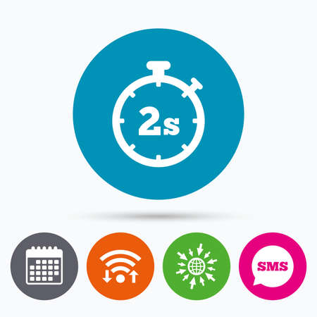 web 2: Wifi, Sms and calendar icons. Timer 2 seconds sign icon. Stopwatch symbol. Go to web globe.