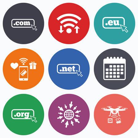 dns: Wifi, mobile payments and drones icons. Top-level internet domain icons. Com, Eu, Net and Org symbols with cursor pointer. Unique DNS names. Calendar symbol.