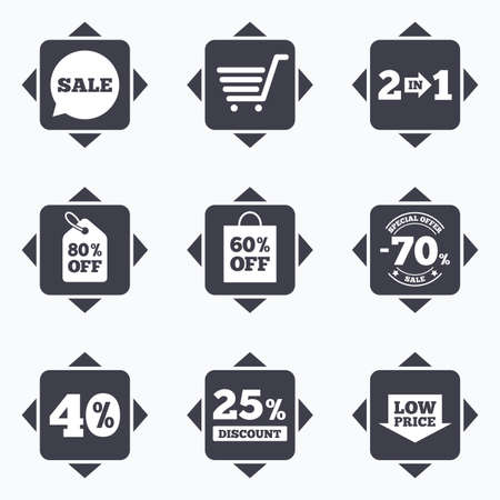 low price: Icons with direction arrows. Sale discounts icon. Shopping cart, coupon and low price signs. 25, 40 and 60 percent off. Special offer symbols. Square buttons. Illustration
