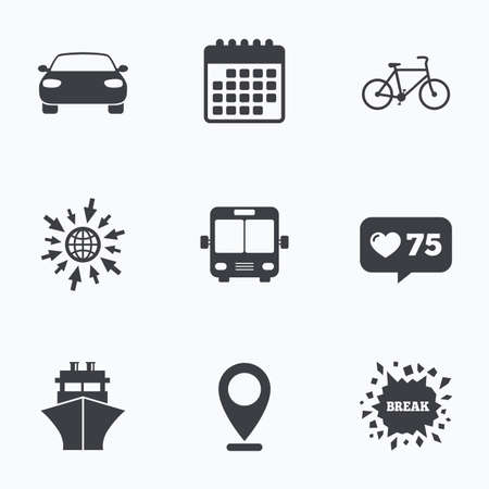 transport icons: Calendar, like counter and go to web icons. Transport icons. Car, Bicycle, Public bus and Ship signs. Shipping delivery symbol. Family vehicle sign. Location pointer.