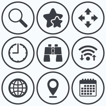 fullscreen: Clock, wifi and stars icons. Magnifier glass and globe search icons. Fullscreen arrows and binocular search sign symbols. Calendar symbol. Illustration