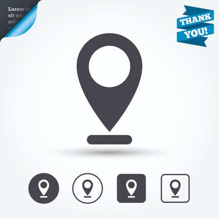 internet mark: Internet mark icon. Navigation pointer symbol. Position marker sign. Circle and square buttons. Flat design set. Thank you ribbon. Illustration