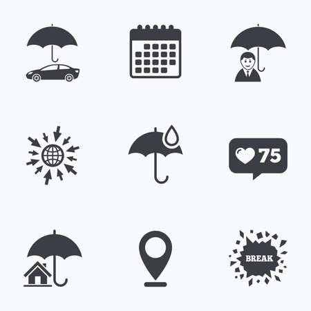 heart damage: Calendar, like counter and go to web icons. Life, Real estate or Home insurance icons. Umbrella with water drop symbol. Car protection sign. Location pointer.